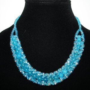 Blue crystal beaded necklace 19""